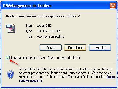 question pour enregistrer les fichiers gsd FenetreTelechargement